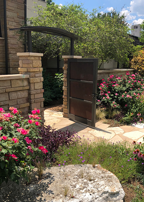 Garden Gate with Roses and Coneflower