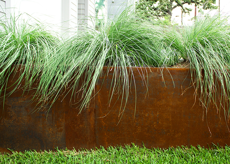 Steel Planter with Native Grasses